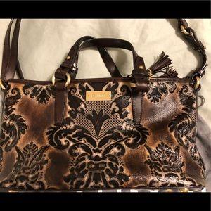 Brahmin tooled leather purse.